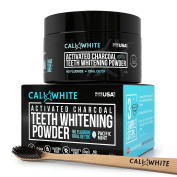 Cali White ACTIVATED CHARCOAL TEETH WHITENING POWDER Bundle Kit - Made in USA - VEGAN & ALL NATURAL, For the Sensitive Smile, Better then Strips, Gel & Toothpaste + Bonus Bamboo Binchotan Toothbrush