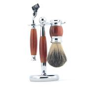 ZY Classy Shaving Set Pure Badger Hair Brush Razor Agate Alloy Stand Barber Tool