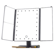 Three-sided mirror with a storage tray base light mirror desktop touch 24 LED light three fold beauty desk mirror can zoom 1X 2X 3X make-up mirror