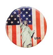 USA American Flag Statue of Liberty Compact Personal Travel Mirror 7cm x 7cm Round