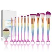 Apr.Fairy Mermaid Makeup Brushes Set Chubby Fish Foundation Brush 11pcs Soft Nylon Bristles Beauty Make Up Kits with Box, Blending Blush Concealer Eye Face Lip Cosmetic Tools - Pink Gradient