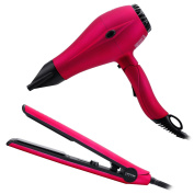 PARWIN BEAUTY Professional Styling Combination -Foldable 1875W Super Negative Ion Hair Dryer and Tourmaline Hair Straightener Thermostat Flat Iron, Pink