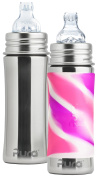 Pura Kiki Stainless Steel Toddler Sippy Bottle, 330ml, Set of 2, Pink Swirl and Natural Mirrored