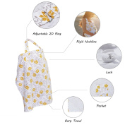 BOOPH Multifunction Nursing Cover Mums Breastfeeding Scarf and Baby Carseat Canopy with Storage Bag Yellow