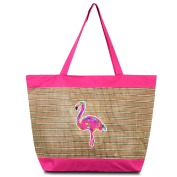 Zodaca Large Beach Tote Bag, Pink Flamingo
