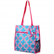 Zodaca Lightweight All Purpose Travel Tote Bag, Blue Quatrefoil
