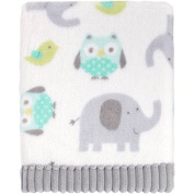 Baby Elephant, Owls and Birds Soft Blanket with Grey Trim