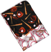 Dear Baby Gear Deluxe Baby Blankets, Custom Minky Print Reversible Baseball Bat Glove, 100cm by 70cm