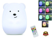 Children's Night Lamp with Wireless Remote – Portable Multicolor LED Animal Silicone Nursery Light - 8 Colours & Breathing Mode Timing for a Tranquil and Relaxing Sleep Environment for Kids & Babies
