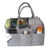 Ceewa Baby Nappy Caddy - Car Organiser and nursery storage bin for baby's essentials With Changeable Compartments Large Grey