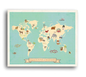Global Compassion World Map 46cm x 60cm Print, Children's Wall Art Map, Kid's Animal World Map, Nursery Décor, Nature Themed Nursery, Nursery Wall Art, Kid's Art, Kid's