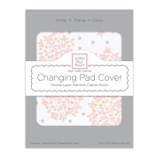 SwaddleDesigns Cotton 2 Layer Muslin Changing Pad Cover, Heavenly Floral with Shimmer, Pink