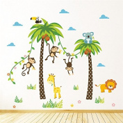 Pakdeevong shop Monkey, giraffe, coconut, animal tree, wall sticker for decorating, nursery, children's room, safari, murals, art, diy cartoon, home stickers