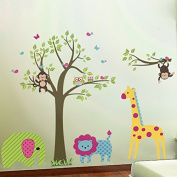 Pakdeevong shop Elephant, lion, giraffe, cartoon, wall sticker for baby room, funny animal, vinyl wallpaper kid