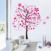 Pakdeevong shop ElecMotive Huge Size Cartoon Heart Tree Butterfly Wall Decals Removable Wall Decor Decorative Painting Supplies & Wall Treatments Stickers for Girls Kids Living Room Bedroom