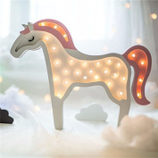 Enjoy Live Creative Unicorn LED Night Lights Wooden Horse Wall-Mounted LED Lamp Night For Kids Children Room Lights Home Decor Lighting Ornament Battery Operated