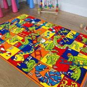 Kids / Baby Room / Daycare / Classroom / Playroom Area Rug. Crocs and Snakes. Fun. Educational. Non-Slip Gel Back. Bright Colourful Vibrant Colours