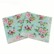 WallyE Paper Napkins for Tea Party Birthday or Wedding, Vintage Blue Floral, 20 Pack