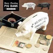 The one of a kind miscellaneous goods animal animal ornament art object interesting miscellaneous goods present gift ham standing pig bank 2864 Hams Standing Pig Bank white iron that money box nostalgic North European pig lid antique interior miscellaneo