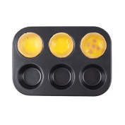 Delidge Non-Stick Bakeware 25cm , 6-Serving Cupcake and Muffin Pan Regular Size Thick-3.3cm