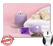 """Luxlady Natural Rubber Mouse Pad/Mat with Stitched Edges 9.8"""" x 7.9"""" Spa set aroma candle salt oil and organic soap with rosemary over pink background best suited for relaxing and health commercials I"""