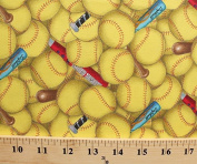 Cotton Sports Fastpitch Softball Softballs Bats Packed Yellow Cotton Fabric Print by the Yard