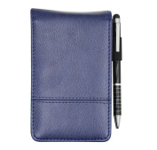 Small Pocket PU Leather Business Notebook Cover Jotter Multifunction A7 Mini Notepad with 8 Digital Calculator,30 Pages Note Paper, 0.7 Metal Rotating Pen,and Pen Holder