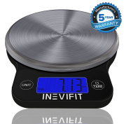 INEVIFIT DIGITAL KITCHEN SCALE, Highly Accurate Multifunction Food Scale 5.9kg 6kgs Max, Clean Modern Black with Premium Stainless Steel Finish. Includes Batteries & 5-Year Warranty