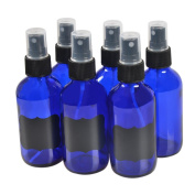6 Pack,120ml Blue Glass Bottles with Black Fine Mist Sprayer.Refillable & Reusable.Designed for Essential Oils, Perfumes,Cleaning Products,Aromatherapy.6 Chalk Labels as gift.