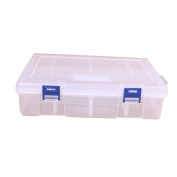 ZTY66 Adjustable 16 Compartments Plastic Storage Box Case for Jewellery Earring, 25 x 16 x 5.9 CM