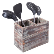 2 Compartment Torched Wood Kitchen Cooking Utensil Holder Organiser Box