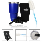 890ml Stainless Steel Vacuum Insulated Tumbler Set with Leak Proof Lid, Tumbler Holder & Brush, Double-Wall Vacuum Insulation Travel Mugs Keeps Drinks Hot or Cold