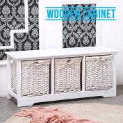 Shabby Chic 3 Drawer Wooden Cabinet Wicker Storage Basket Unit White