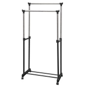 Double Garment Rack Adjustable Portable Clothes Rail Hanging Stand Silver