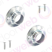 Wardrobe Rail End Socket Pair Hanging Round Tube Supports Brackets Chrome 25mm