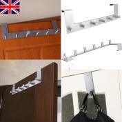 Over Door 6 Hook Knobs Coat Hat Clothes Stainless Steel Holder Hanger Rack New