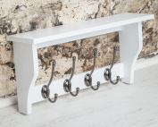 Lewiston Shelf With Hat & Coat Hooks - Paris White With 4 Hooks