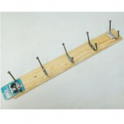 Pine 5 Slot Double Hook Coat Rack Home Storage Solution Easy Hang Robe Rail