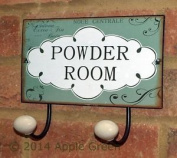 Powder Room Soap Hooks 2 Hook Coat Wall Rack Metal Shabby Chic Ceramic End New