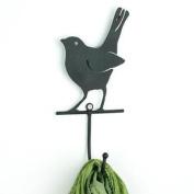 Black Bird Coat Hook Wall Mounted Vintage Retro Metal Single Hanger