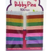 100 X 4.5cm Small Assorted Colour Bobby Pins Hair Red White Green Pink Yellow