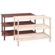 New 3 Tier Shoe Rack Shelf Stand Natural Wood Storage Organiser
