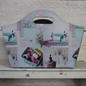Leather Storage Magazine Tidy Folding Box Bag Couture Sewing Knitting Craft