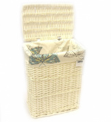Arpan New White Wicker Linen Laundry Basket Medium Size - Vintage Butterfly