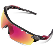 RIVBOS 801 Polarised Sports Sunglasses Sun Glasses with 5 Interchangeable Lenses for Men Women Baseball Cycling Runing