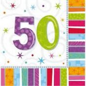 5oth Birthday Napkins 3ply Radiant 16pcs Birthday Party Table Decorations