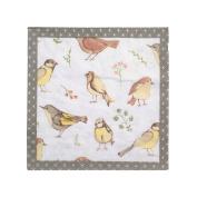 Bird Flower Cream Beige Bordered 3-ply 20 Paper Napkins Serviettes 33cm X 33cm