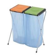 Recycling Bin Sack Holder 2-compartment Orange/green 370573 60ls