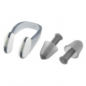 TOOGOO(R) PVC Swim Swimming Nose Clip Earplugs Black Clear Plastic Case for Adult