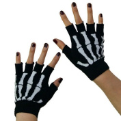 New Black Punk Gothic Dark Rock White Skeleton Hand Warmer Half Finger Gloves by Chunkaew